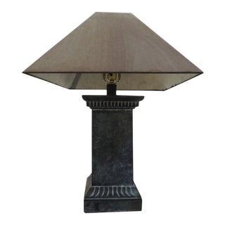 Gray Marble Style Base Table Lamp & Dark Gray Woven Shade For Sale
