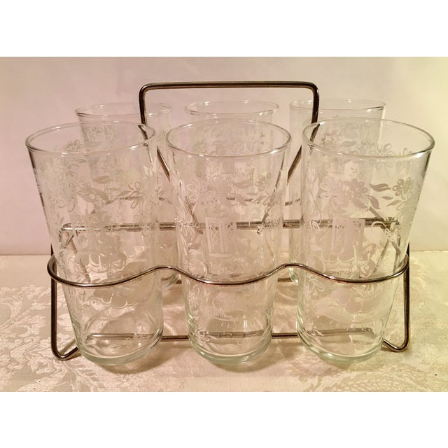 Set of six swaggy swigs clear glasses with white lace Sillouette Victorian theme scene with caddy. Very little wear on the...