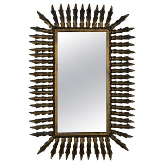 Spanish Gilt Metal Rectangular Sunburst Mirror For Sale