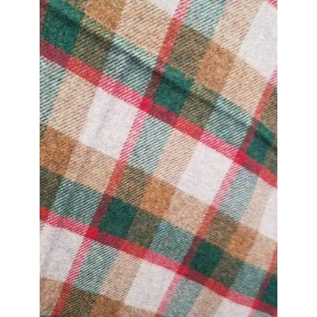 Textile Wool Throw Green, Red, Brown in a Check Design - Made in England For Sale - Image 7 of 11