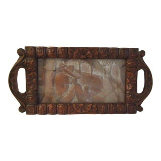 Vintage Mexican Folk Art Carved Wood & Glass Tray For Sale