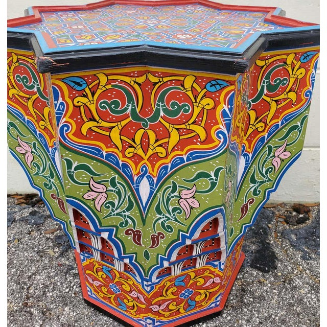 2010s Moroccan Lg Ceuta 4 Painted and Carved Star Table, Multi-Color For Sale - Image 5 of 8