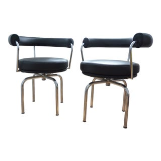 Charlotte Periand Le Corbusier for Cassina Bauhaus LC7 Swivel Leather Chairs - a Pair
