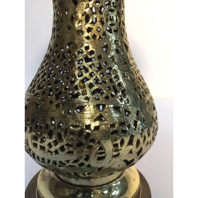 Early 20th Century Moorish Revival Brass Syrian Table Lamp For Sale - Image 5 of 11