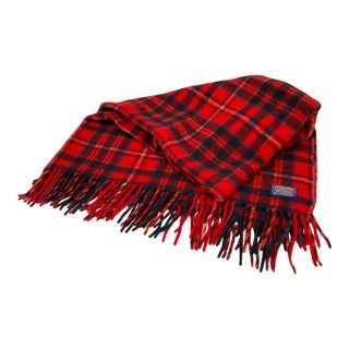 Vintage Pendleton Red and Navy Blue Wool Blanket/Throw For Sale