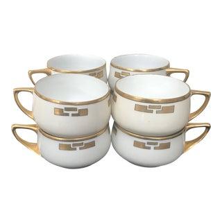 Antique, 19th C. Mz Austria, Cream Colored, Gilded Porcelain Cups, Set of 8 For Sale