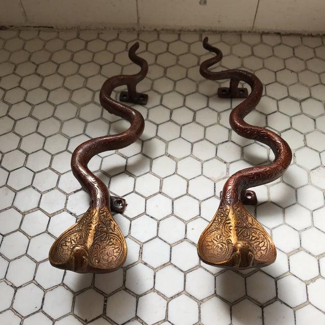 Hollywood Regency Brass Cobra Door Handles- a Pair - Image 8 of 11