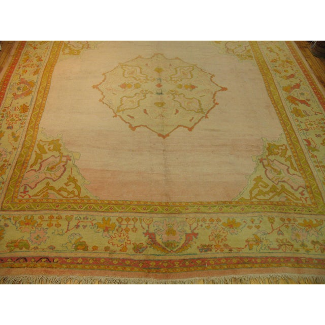 Early 20th Century Bright Pink Antique Turkish Oushak Rug, 11' X 12'2'' For Sale - Image 5 of 10