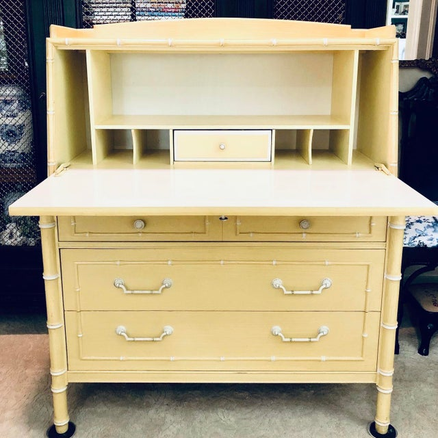 Chinoiserie Thomasville Faux Bamboo Drop Down Secretary Desk For Sale - Image 3 of 7