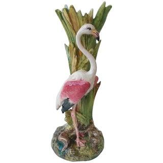 19th Century Antique Delphin Massier Majolica Flamingo Vase For Sale