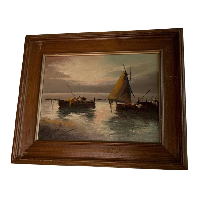 """Vintage """"Sailboats at Sunset"""" Oil Painting For Sale"""