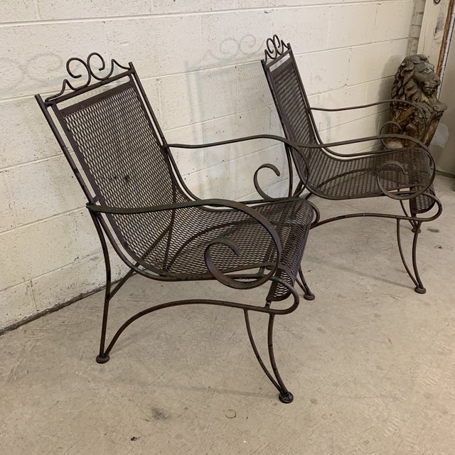 Vintage Iron Patio Chairs - a Pair For Sale - Image 4 of 11
