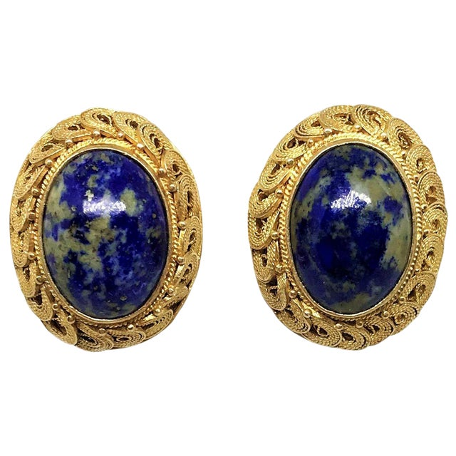 1950s Chinese Gold-Plated Sterling Silver Blue Sodalite Clip-Back Earrings For Sale