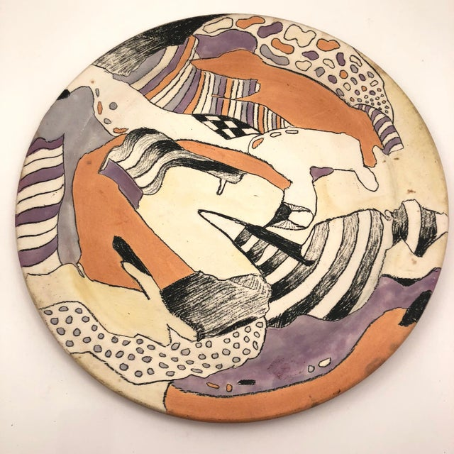 Late 20th Century Vintage Abstract Hand-Painted Decorative Ceramic Platter For Sale - Image 10 of 10