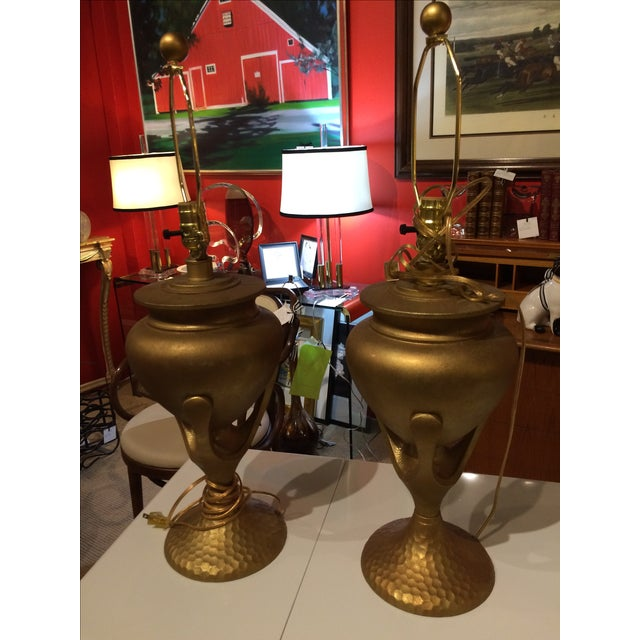 Gold Vintage Heyco Mid-Century Metal Lamps - A Pair For Sale - Image 8 of 10