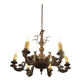 Bronze Victorian Chandelier With Stylized Dolphins