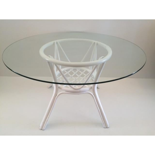 1960s Vintage Hollywood Regency White Rattan Base Dining Table For Sale - Image 10 of 10