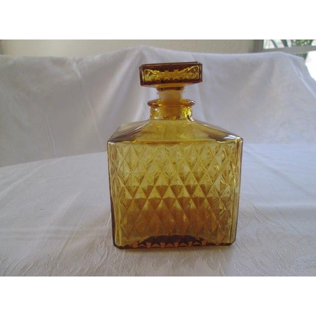 Vintage Amber Glass Diamond Cut Decanter - Image 3 of 4