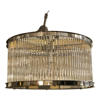French Art Deco Glass Rod Pendant Chandelier For Sale