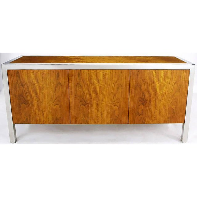 Rare Pace Collection sideboard/cabinet in highly figured and iridescent fiddleback koa wood. Heavy polished steel frame...