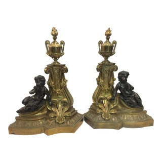 Antique French Cherub Andirons Chenets a Pair For Sale