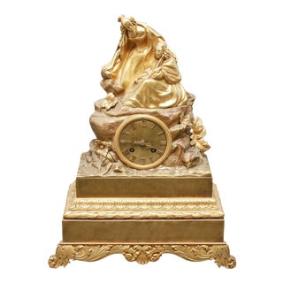 Charles Pickard French Neoclassical Revival Ormolu Gilt Bronze Mantel Clock For Sale