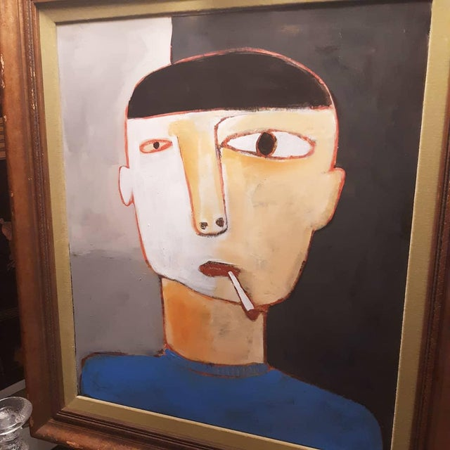 Abstract Man Smoking Figurative Portrait Painting For Sale - Image 3 of 5