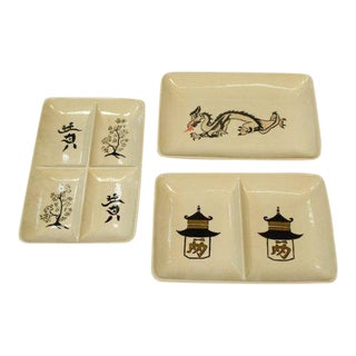 1960s Chinese Themed Appetizer Trays - Set of 3 For Sale