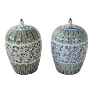 Chinese Hand Painted Ginger Jars - a Pair For Sale