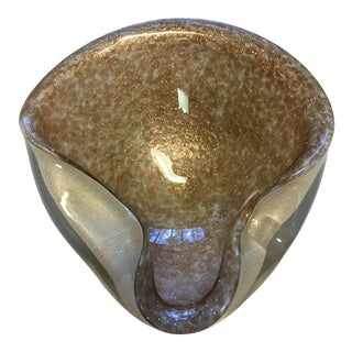 1970's Murano Art Glass, Gold Mica Flake Ashtray For Sale