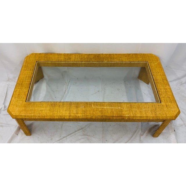 Tan Vintage Grasscloth Wrapped Coffee Table For Sale - Image 8 of 10