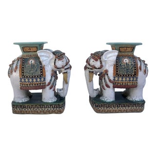Pair of Vintage 1970's Ceramic Elephant Stand/Table Sculptures For Sale