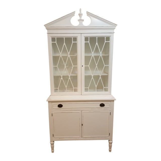 1940s Art Deco China Cabinet Hutch Distressed Storage Cabinet For Sale