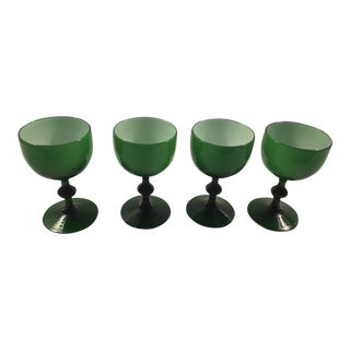 Carlo Moretti Emerald Green White Cased Glass Coupes - Set of 4 For Sale