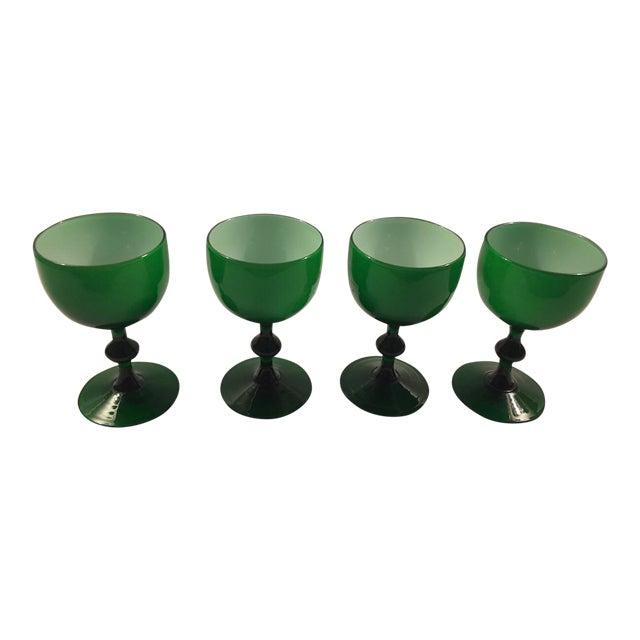Carlo Moretti Emerald Green White Cased Glass Coupes - Set of 4 For Sale