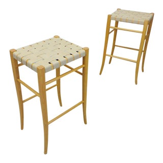 Mid Century Italian Modern Natural Oak Cotton Weave Strap Bar Stools - a Pair For Sale