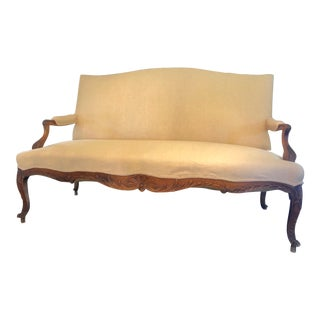 Late 19th Century Carved Wood and Newly Upholstered Loveseat For Sale
