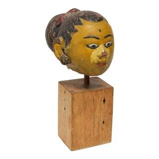 Vintage Balinese Painted Ceramic Head