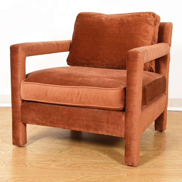 Copper Crushed-Velvet Upholstered Club Chair For Sale - Image 9 of 10