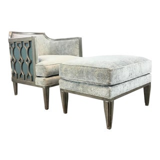 Caracole Modern Robins Egg Blue Cut Velvet Chair and Ottoman Set For Sale
