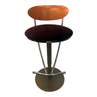 Contemporary Birch Back Purple Upholstered Swivel Barstool For Sale