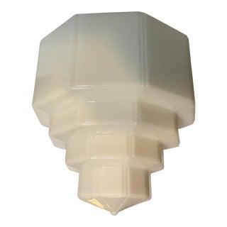 """15"""" Art Deco Milk Glass Tiered Skyscraper Shade For Sale"""