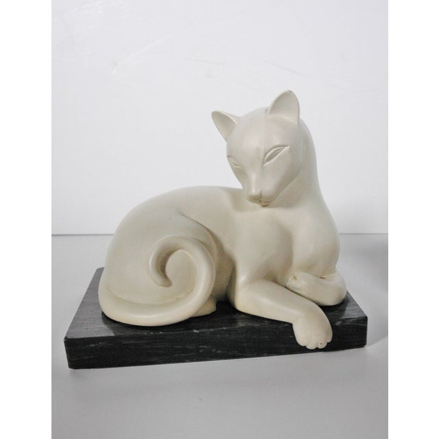 Art Deco White Alabaster Cat Bookends For Sale - Image 4 of 5