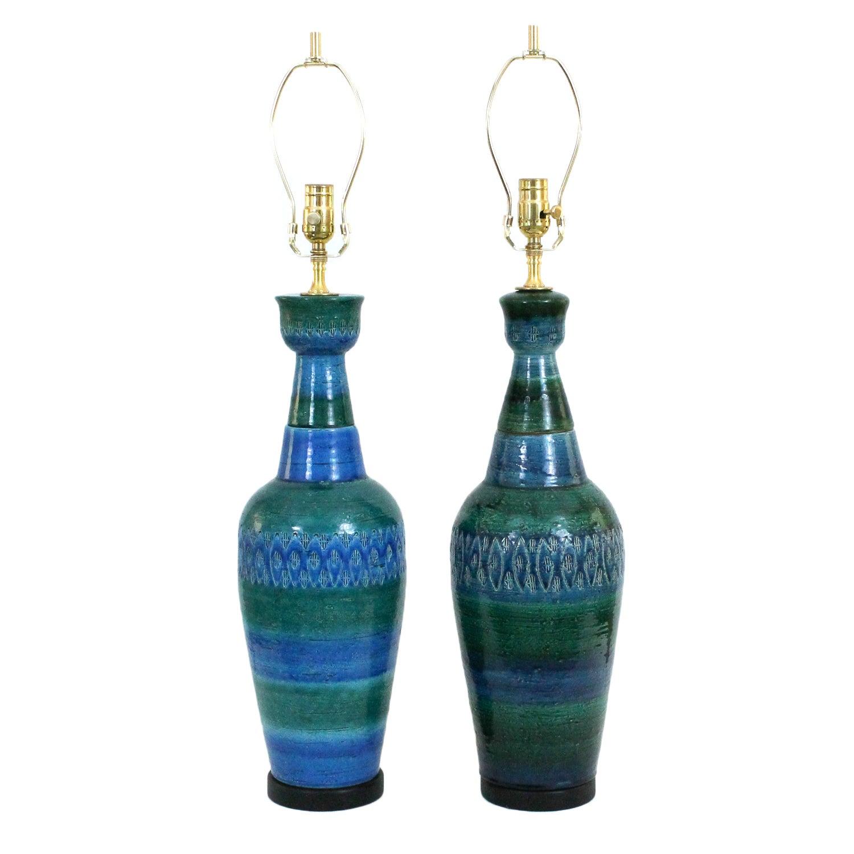 Bitossi for Raymor Italian Pottery Lamps - A Pair | Chairish