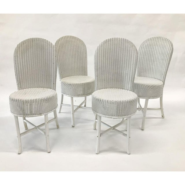 Boho Chic 1950s Woven Lloyd Loom Chairs — Set of 4 For Sale - Image 3 of 12
