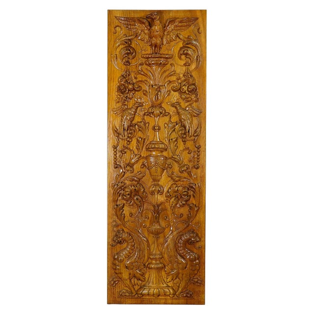 Brown Wooden Carved Panel With Eagle and Gargoiles, Germany Ca. 1920 For Sale - Image 8 of 8