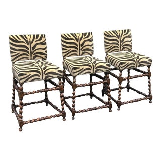 Set of Three Ebanista Spanish Colonial Counter Height Bar Stools W Zebra Seats For Sale