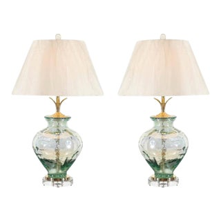 Stellar Pair of Custom Blown Glass, Brass and Lucite Lamps For Sale