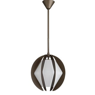 Arteriors Industrial Modern Aged Iron and Opal Glass Indoor/Outdoor Puzol Pendant For Sale