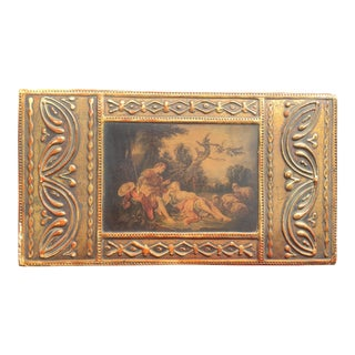 1940s Florentine Parcel-Gilt Decoupage Box With Romantic Scene For Sale